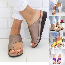 big toe sandals Canada - Women PU Leather Shoes Comfy Platform Flat Sole Lady Casual Soft Big Toe Foot Correction Sandal Orthopedic Bunion Corrector 6J12