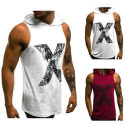 Wholesale Men T shirt Vest Hoodie Muscle Sleeveless Bodybuilding Gym Tank Tops Hooded NEW