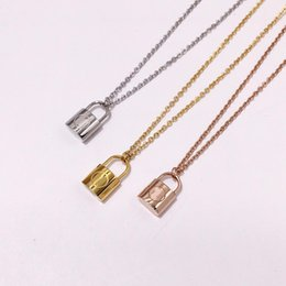316l titanium necklace chain online shopping - New arrival L Titanium steel necklace with padlock pendant for women wedding jewelry gift PS6142