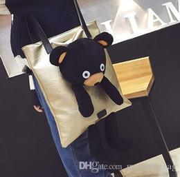 American Canvas Print Australia - Plush Bear Handbag Of Nice Autumn Winters Is The European And American Fashion Cartoon Dolls Women Bag Leisure Bag Shoulder Bag