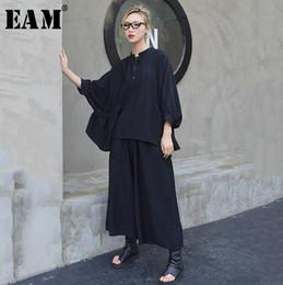 Quarter Suits Australia - [EAM] 2019 New Spring Summer Round Neck Three-quarter Sleeve Fold Big Size Wide Leg Pants Two Piece Suit Women Fashion JQ061
