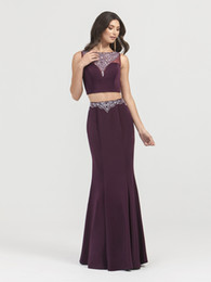 $enCountryForm.capitalKeyWord Australia - Fashionable Purple Crystal Beaded Mermaid Prom Dresses 2019 Two Pieces Evening Formal Dresses With Bateau Neck Zipper Back Floor Length