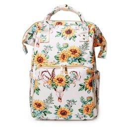 Опт Леопардовая сумка с подгузниками в полоску оптом Заготовки Sunflower Mummy Baby для ухода за подсолнухами Подгузник Сумка большой емкости Рюкзак Дорожная сумка захват DOM1276