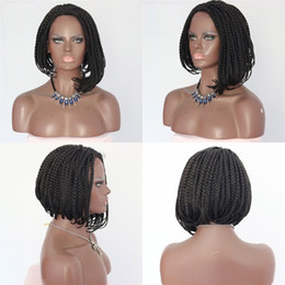 Glueless Wig Braids For Australia - Free Shipping Quality Natural Black Color Short Bob Style Braided Box with Baby Hair Glueless Synthetic Braids Lace Front Wigs For Women