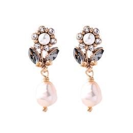 Irregular pearl earrIngs online shopping - European and American Fashion and Popular Irregular Simulated Pearl Pendant Crystal Rhinestone Female Dangle Stud Earrings E5515