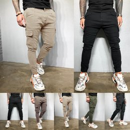 Wholesale fashion straight slim pants resale online – designer Men s Slim Pocket Urban Straight Leg Trousers Pencil Jogging Joggers Cargo Pants