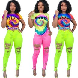 $enCountryForm.capitalKeyWord NZ - S-3xl Tie-dye Color T Shirt Women Tracksuit Top Positive Honey Letters Printed Tshirts Summer Short Sleeve Sports Tee Casual Tops