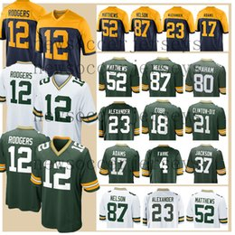 6ef92a79452 12 Aaron Rodgers Green Bays Men Packer jerseys 52 Clay Matthews Davante  Adams Randall Cobb 80 Jimmy Graham 23 Jaire Alexander 4 Brett Favre