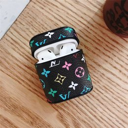 Discount apple airpods - for Apple air pod case Bluetooth Headphone Cover Premium Leather Headset Protective Anti-lost Proof Pouch Fashion Design