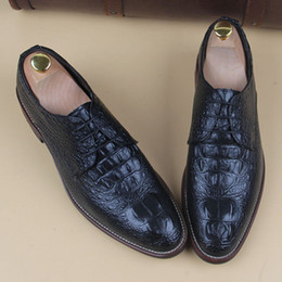 carving leather pattern Australia - men crocodile pattern genuine leather shoes casual print carved brogue gentle office wedding dress luxury flats shoe oxfords man