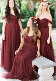 $enCountryForm.capitalKeyWord Australia - Burgundy Long Bridesmaid Dresses Country Style Off Shoulder Tulle Beach Wedding Party Guest Dresses Maid of Honor Dress TD098