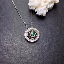 $enCountryForm.capitalKeyWord NZ - natural green emerald Pendant necklaces natural gemstone pendant S925 silver Fashion round two wears Women party luck jewelery