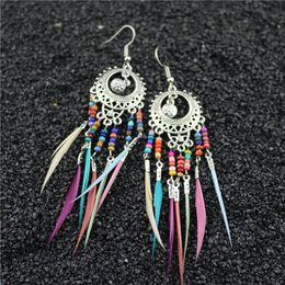 $enCountryForm.capitalKeyWord Australia - Hot Sale Retro Bohemian Designer Earrings Alloy Hollow Oval Stud Earring Colorful Rice Beads Women Earrings Unique Feather Tassel Earrings