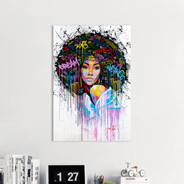 $enCountryForm.capitalKeyWord UK - 1 Panel Wall Art Canvas Picture Figure Paintings Graffiti Girl Portrait for Living Room Home Decor No Frame