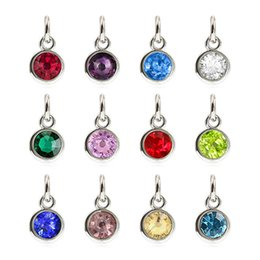 Wholesale Colorful Birthstone Charm Pendant with Open Ring Dangle Charm Fit Rotating Key Chain Key Ring Bag Necklace DIY Jewelry Making