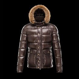 Brown Down Parkas Australia - Real Raccoon fur collar hood Winter jacket men White duck down Two practical large pockets Brown down parka Male Light overcoat