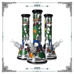 $enCountryForm.capitalKeyWord Australia - New Design 9mm Thick Cartoon Art Bong Colorful Glass Smoking Water Pipe Hookah Beaker Tobacco Bongs Wholesale free shipping
