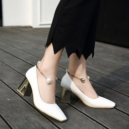 low heeled pearl shoes Australia - Pretty2019 Shoes High-heeled Square Light Crude With Pearl Single Shoe