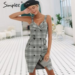176861bd7fc Double breasteD high waist shorts online shopping - Simplee Plaid Strap  Women Dress Office Lady High