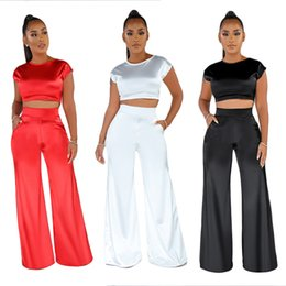 Short legS online shopping - Summer Women Two Piece Pants Set Rayon Casual Piece Outfits Short Sleeve Cropped Top Pocket Long Wide Leg Pant Suit White Black Red