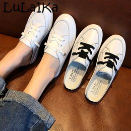 $enCountryForm.capitalKeyWord Australia - 2019Summer Casual Flat With Platform Shoes Ladies Korean Version Of A Pedal Lazy Shoes Wild Half Drag Casual Students WhiteShoes
