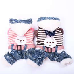 princess dog shirt UK - Princess Dog Cat Jumpsuit Hoodie Striped Rabbit With Belt Pet Puppy Coat Jacket Winter Warm Apparel