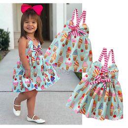 $enCountryForm.capitalKeyWord Australia - retail baby girl dresses summer sleeveless suspender backless cute Ice Cream Princess Dress fashion sweet prom dress kids designer clothes