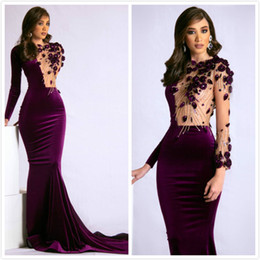 gold purple aso ebi NZ - Aso Ebi 2019 Arabic Purple Sexy Evening Dresses Beaded Mermaid Long Sleeves Prom Dresses Cheap Sexy Formal Party Bridesmaid Pageant Gowns