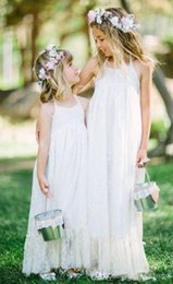 Children Wears Wedding NZ - Flower Girl Dress Halter Lace For Wedding Formal Occasion Kids Brithdays Bridal Dress Child Party Dress Formal Wear M115
