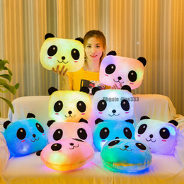 Stuff toyS teddieS online shopping - LED Colorful Panda Pillow New Brand Models Panda PP Stuffed Pillow Toys Christmas Gifts Toy