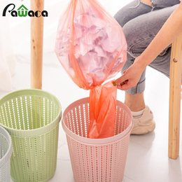 can bins Canada - Waste Bins With Trash Bag Hollow Trash Can Creative Non-removable Garbage Bags Waste Paper Basket Garbage Bin for Home Bedroom