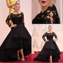 Oscars Prom Dresses Australia - 87th Oscar Awards Kelly Osbourne Black Long lace sleeves Celebrity formal Evening Dresses Hi-lo A line short party Special OccasionPlus size