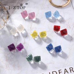 $enCountryForm.capitalKeyWord Australia - women Geometric Square Resin stud Earrings Irregular Candy Color Jelly ear Earrings Water Ripple sea Beach Wind Earring jewelry