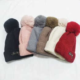 Black wool skull cap online shopping - New Knitted Hats For Women Good Quality Winter Wool Stussy Knitting Beanie Caps Will Ball Lining With Velvet Metal Logo Colors