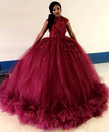 Coral quinCeanera dresses sweet 16 online shopping - 2019 African Burgundy Ball Gown Quinceanera Dresses Jewel Cap Sleeve Applqieu Ruched Prom Party Gowns For Sweet Dress vestidos de anos