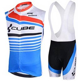 orange blue cube cycling jersey UK - 2020 Cube Cycling Jersey Set Summer Sleeveless Breathable Bike Clothing Quick -dry Bicycle Sportswear Bike Wear Maillot Ropa Ciclismo Hombre