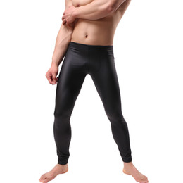 ba65bf1f599ead Men's Workout Fitness Compression Leggings PU Leather Pants Bottom Men  Bodybuilding Skin Tights Trousers Dance