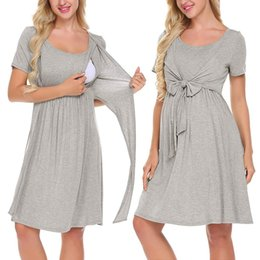 a40c0a53e796e NursiNg dresses breastfeediNg online shopping - vetement femme Women  Maternity Pregnant dress Nursing Baby Nightgown Solid