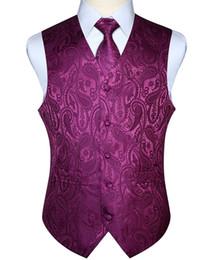 $enCountryForm.capitalKeyWord NZ - Men Waistcoat Vest Party Wedding Handkerchief Necktie Classic Paisley Plaid Floral Jacquard Pocket Square Tie Suit Set Q190516