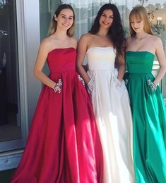 Sexy Decor Australia - Simple Style Prom Dresses 2019 With Pocket Crystals Decor Satin Floor Length Strapless Special Occasion Formal Evening Party Dresses DP0310