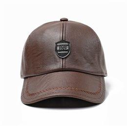 47dd0e4089a41 Winter Men Stylish Cap UK - Men PU Leather Baseball Caps Dad Hat Adjustable  Winter Warm