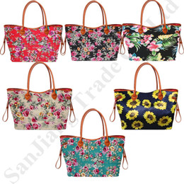 sunflower handbags Australia - Women Sunflower Rose Print Handbags Floral Totes Canvas Duffel Big Size Flowers Shoulder Bags Luggages Weekender Travel Sports Bag C82008