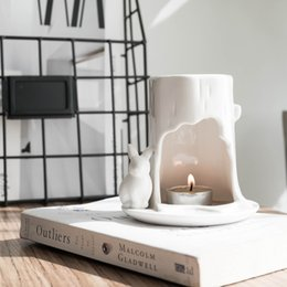 yoga incense Australia - Classic American White Ceramic Scented Candle Holders Incense Essential Oil Lamp Tealight Candle Holder Yoga Oil Burner Ornament SH190926