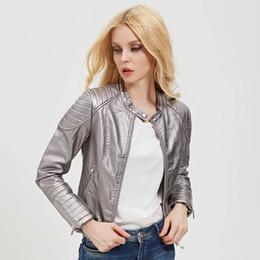 womens faux pu leather jacket 2019 - Silver Women Cool PU Faux Leather Jacket 2019 Autumn Womens Bomb Coats Ladies Punk Bling Jackets Girls Streetwear Slim C
