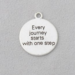 $enCountryForm.capitalKeyWord Australia - Wholesale Fashion Antique Silver Plated Fashion Alloy Every journey starts with one step Round Message Charms 22*25mm 50pcs AAC1961