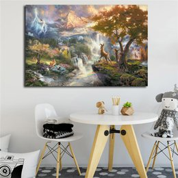 $enCountryForm.capitalKeyWord Australia - Thomas Kinkade Bambi First Year Poster Canvas Painting Oil Framed Wall Art Print Pictures For Living Room Modern Home Decoracion Framework