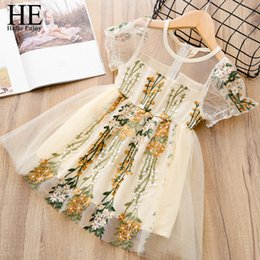 wedding dress for years kids Australia - He Hello Enjoy Summer Flower Girls Dresses Wedding For Girls 6 Years Embroidery Lace Gown Princess Dress Tulle Kids Elegant J190505