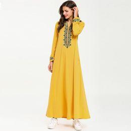 Pocket Size Australia - Casual dresses Women Long sleeve V Neck Embroidery Fashion Spring Muslim Islamic Loose Large size dress with pocket vestido de fesat
