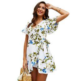 $enCountryForm.capitalKeyWord Australia - Women Ruffles V Neck Dresse Short Sleeve Floral Print Bohemian Party Night Mini Dresses Robe Femme Boho Dress Bandage Dress 2019