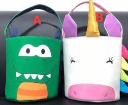 Interactive Toy Rabbit Australia - Boy Dinosaur Girls Unicorn Easter Basket Children's Cute Candy Gift tote bucket egg hunting bucket Easter tote bucket